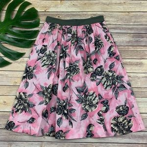 Odille pink pleated floral midi skirt with pockets